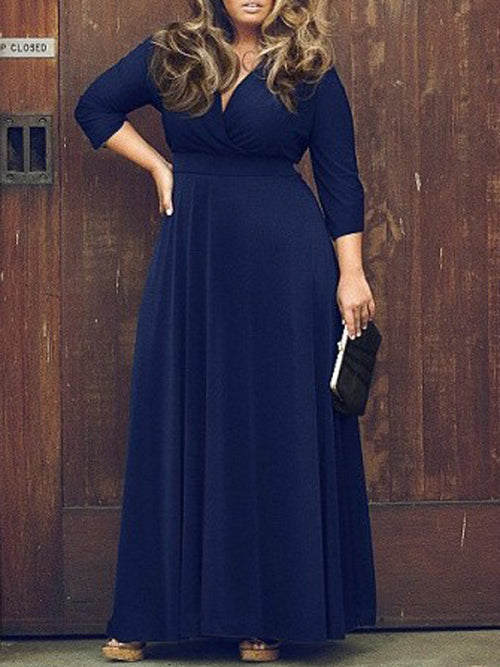 Blue V Neck 3/4 Sleeve Plus Size Skater Maxi Dress
