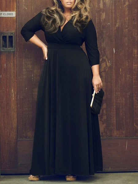Black V Neck 3/4 Sleeve Plus Size Skater Maxi Dress - MYNYstyle