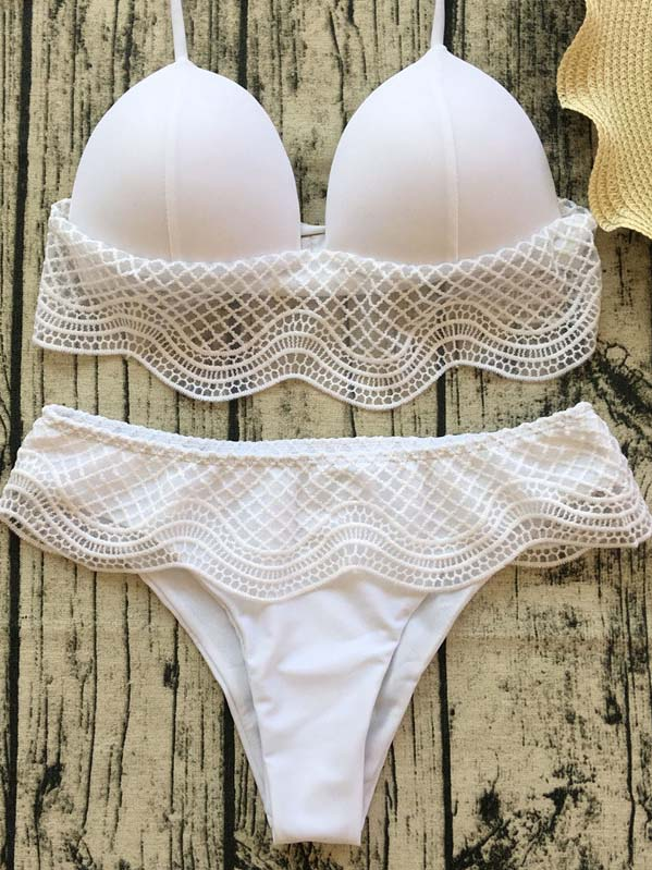 0a242bbb57804 White Halter Lace Panel Bikini Top And Bottom – MYNYstyle