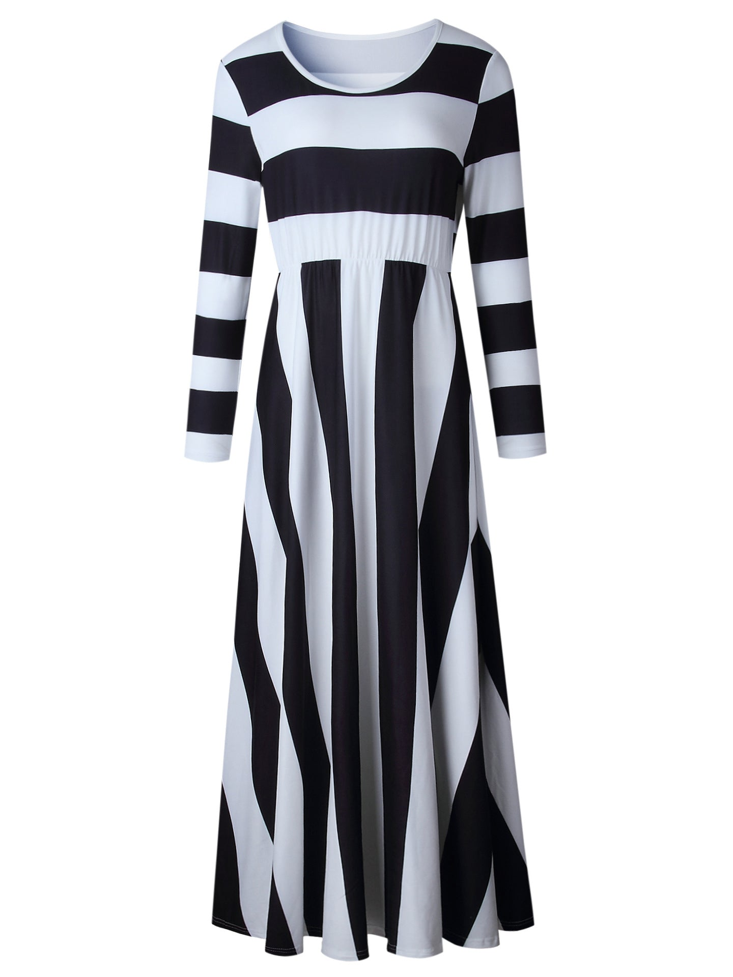 Black Stripe Long Sleeve Maxi Dress