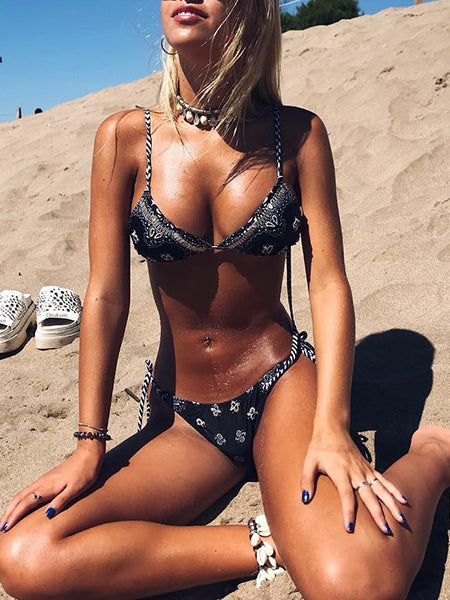 Black Halter Floral Print Bikini Top And Bottom