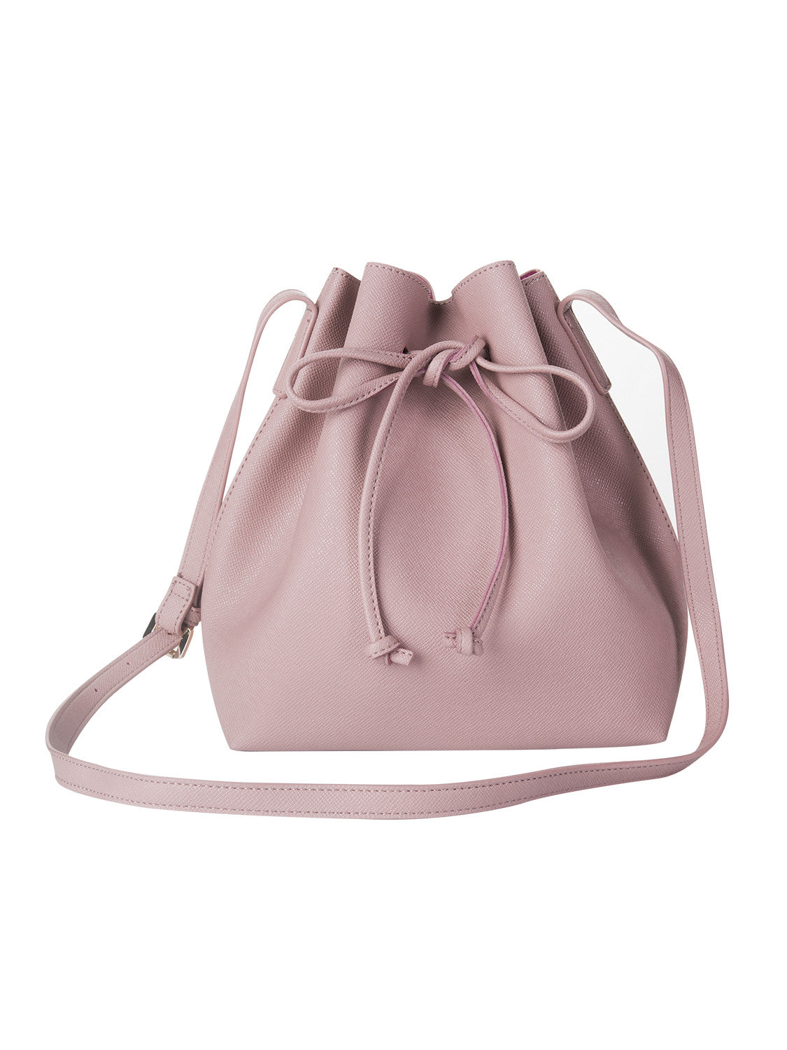 Peach Pink Drawstring Detail PU Bucket Bag - MYNYstyle - 1