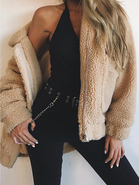 Khaki Lapel Long Sleeve Faux Shearling Fluffy Coat