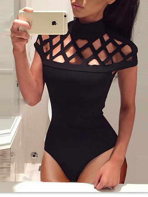 Black Cut Out Detail Bodysuit