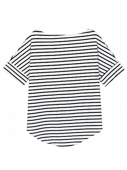 Monochrome Stripe Short Sleeve Dipped Hem T-shirt