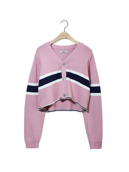 Pink Stripe Panel Long Sleeve Chic Women Mohair Knit Sweater