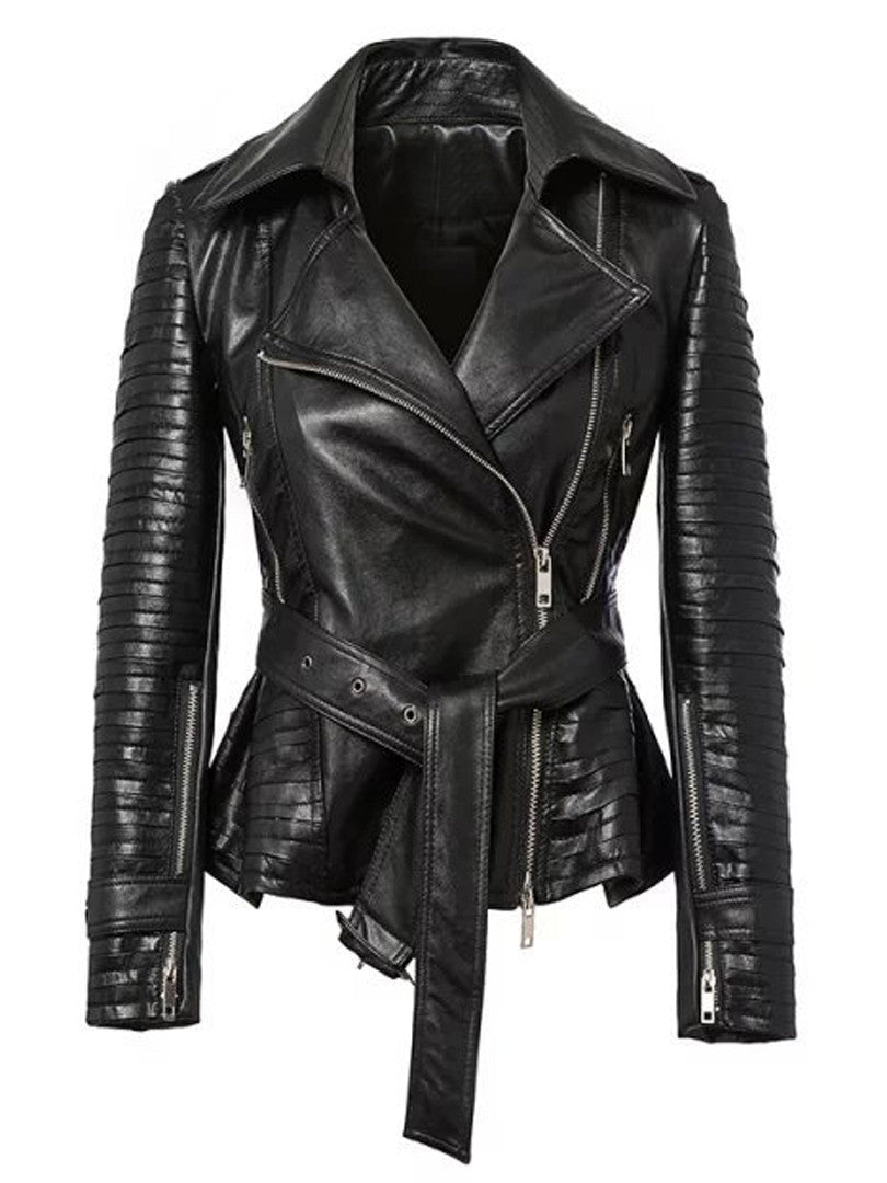 0fcee30e0 Black Lapel PU Tied Ruched Hem Biker Jacket ...