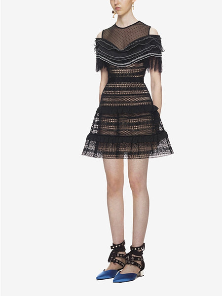 Black Cold Shoulder Sheer Mesh Panel Lace Mini Dress