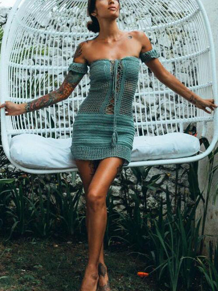 Off Shoulder Lace Up Front Crochet Cut Out Detail Mini Dress