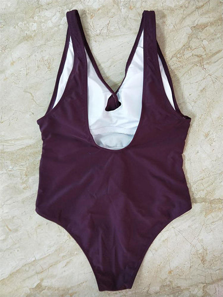 Burgundy V-neck Tie Waist Open Back Swimsuit