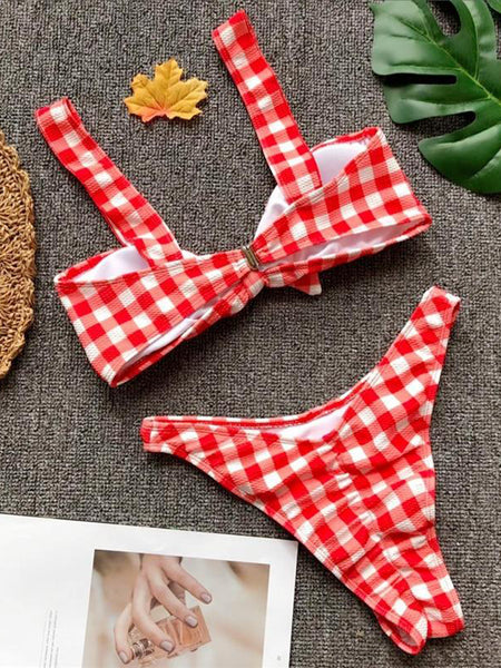 Red Plaid Tie Front Women Bikini Top And High Waist Bottom