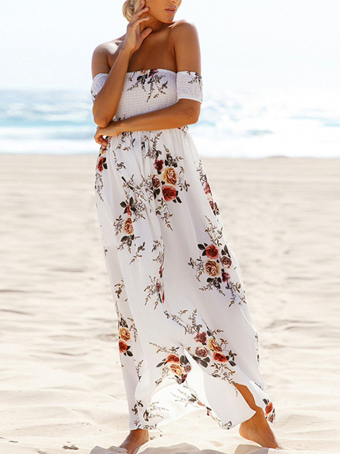 White Off Shoulder Shirred Floral Print Wrap Tulip Beach Maxi Dress