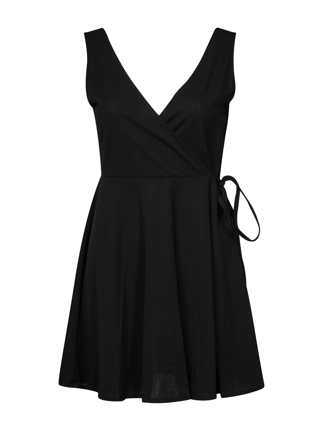 Black Plunge Open Back Mini Dress