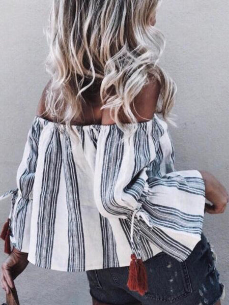 Black Stripe Off Shoulder Blouse
