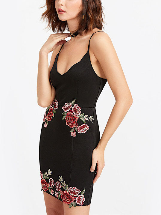 Black Spaghetti Strap Plunge Embroidery Detail Mini Dress