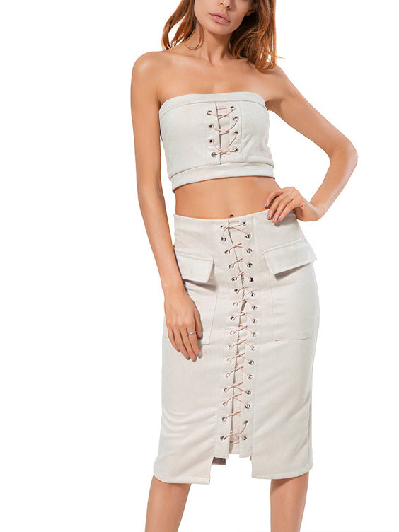 Beige Bandeau Lace Up Crop Top And Pencil Skirt