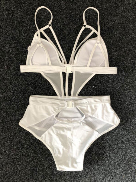 White Plunge Cut Out Detail Swimsuit