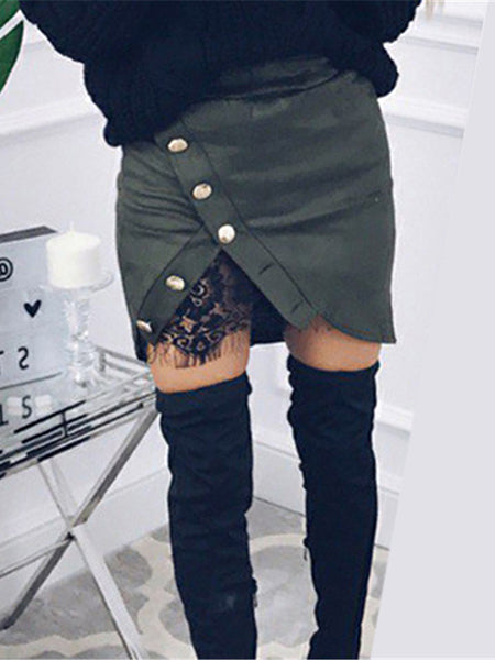 Green Faux Suede Split Front Lace Lining Mini Skirt