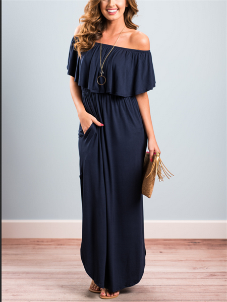 Off Shoulder Thigh Split Detail Maxi Dress