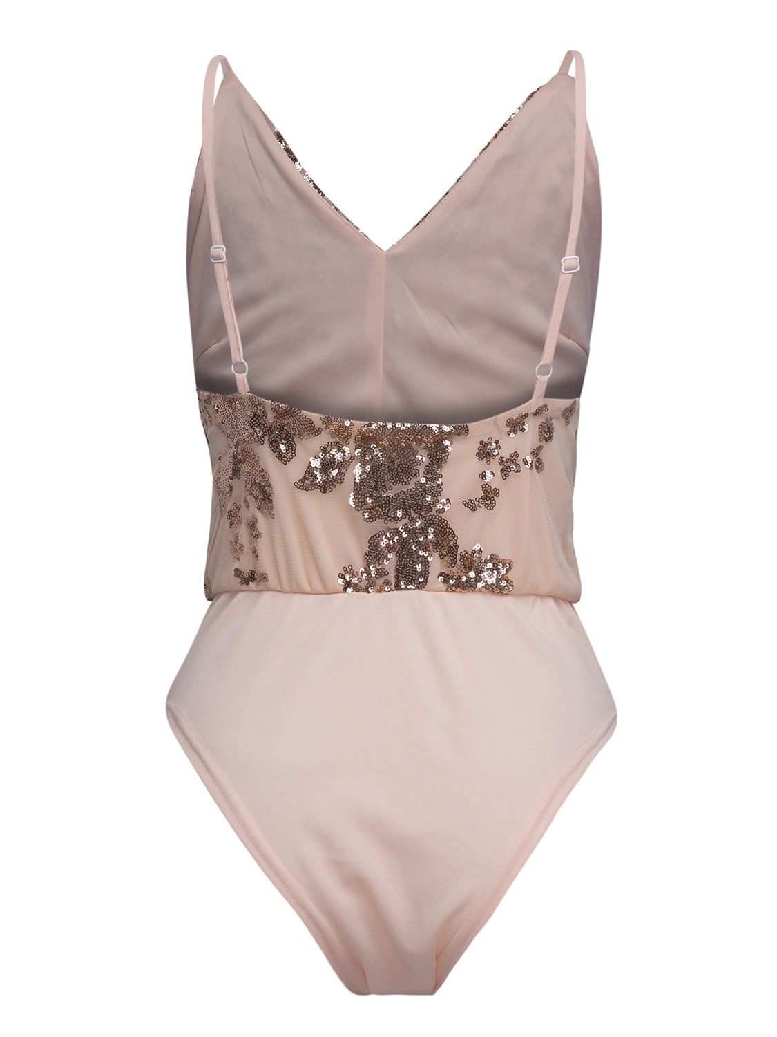 Nude Pink Sequined V-neck Open Back Cami Bodysuit