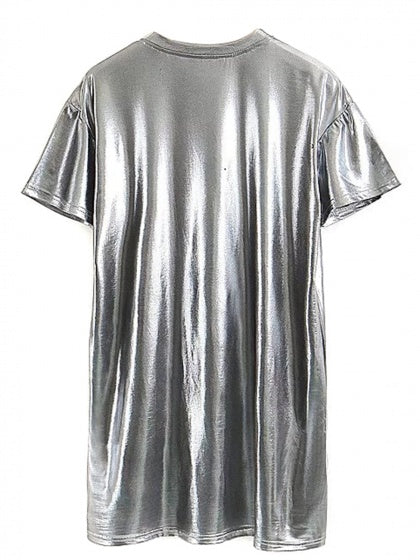 Silver Short Sleeve Mini Dress