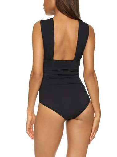 Black Cross Front One-piece Swimsuit