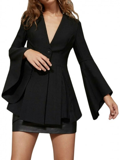 Black V-neck Ruffle Hem Flare Sleeve Women Blazer