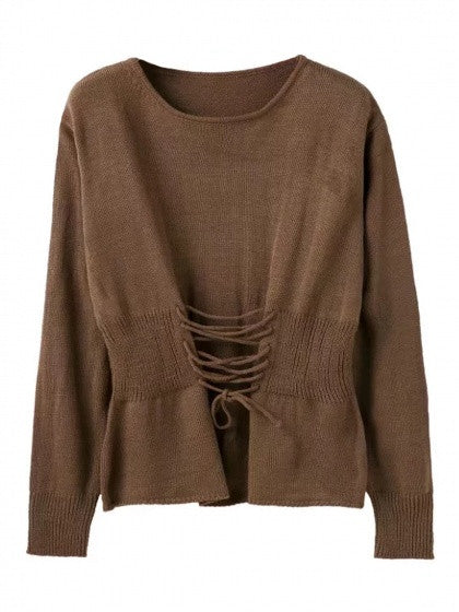 Coffee Lace Up Detail Long Sleeve Knit Jumper