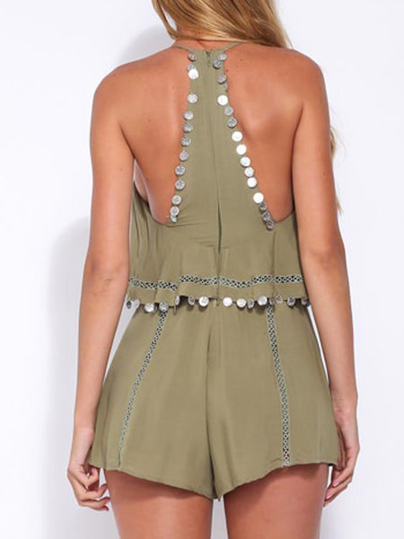 Olive Green Coin Drop Lattice Detail Overlay Romper Playsuit - MYNYstyle - 1