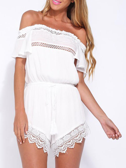 White Off Shoulder Lattice Detail Crochet Hem Romper Playsuit