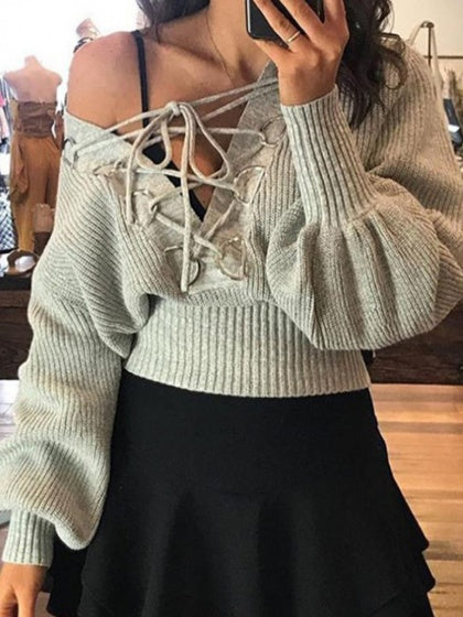 Gray V-neck Lace Up Front Puff Sleeve Women Sweater c789c7a62