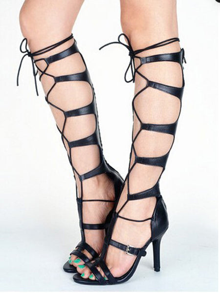 Black Lace Up Buckle Gladiator Heeled Sandals - MYNYstyle - 1