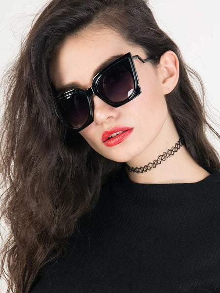 Black Chunky Cat Eye Tinted Sunglasses - MYNYstyle - 1