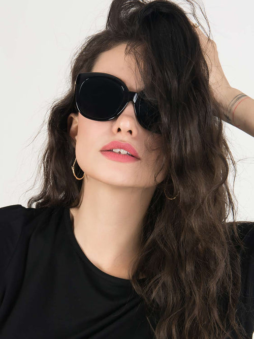 Black Gold Bar Embellished Oversized Sunglasses