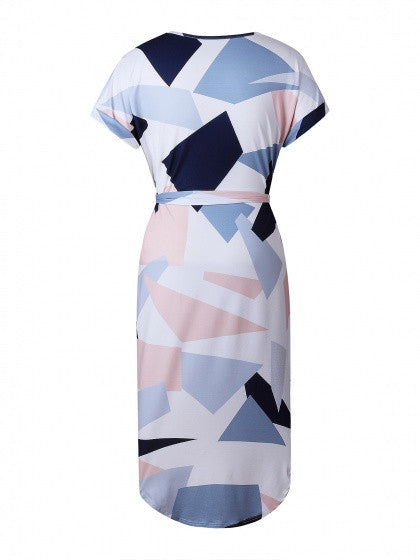 Multi Color Cute Geometric Strapy Tie Belt Midi Dress