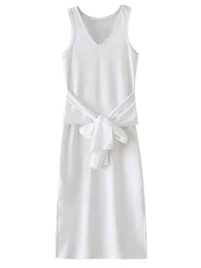 White V-neck Tie Front Side Split Ribbed Dress - MYNYstyle - 2