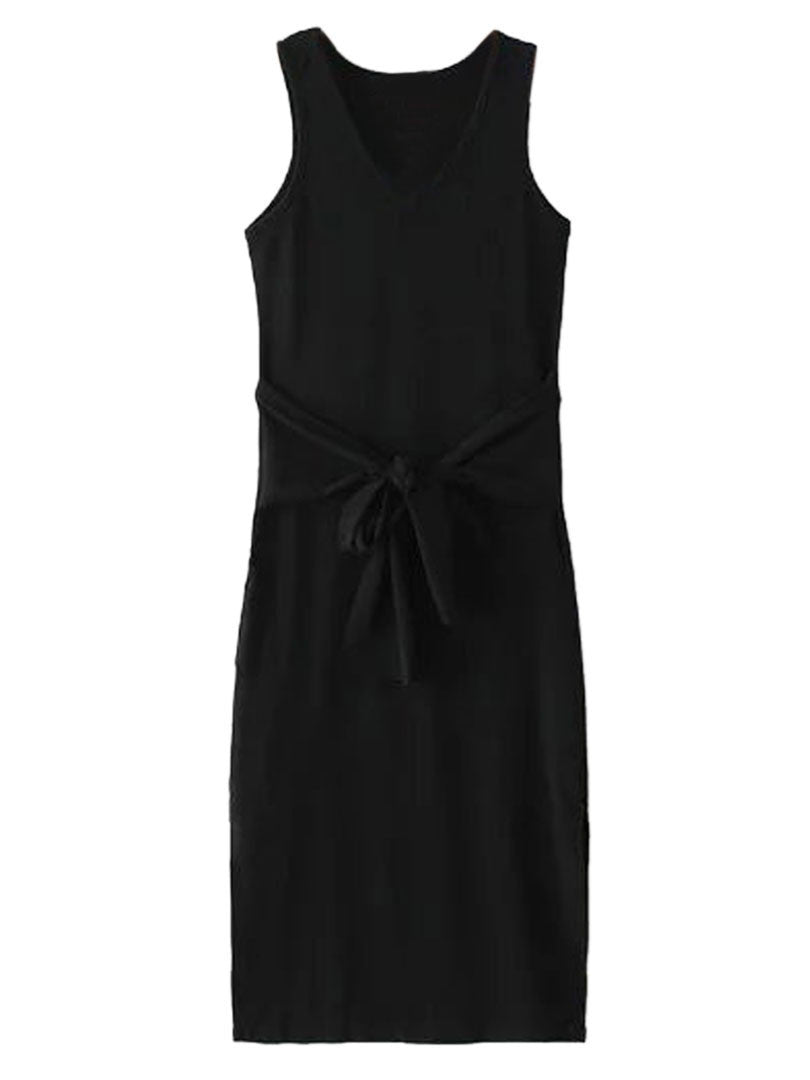 Black V-neck Tie Front Side Split Ribbed Dress - MYNYstyle - 2