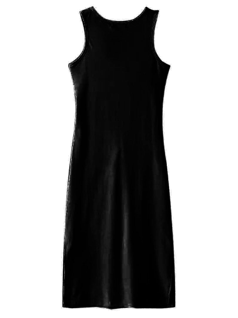 Black V-neck Tie Front Side Split Ribbed Dress - MYNYstyle - 3