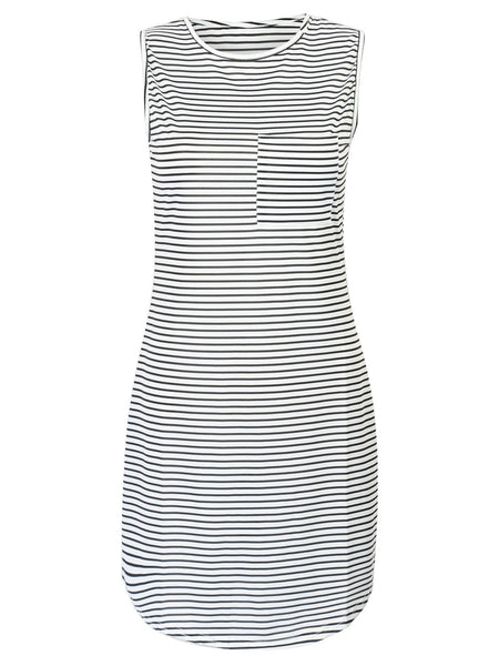 Monochrome Stripe Print Mini Shift Dress - MYNYstyle - 2