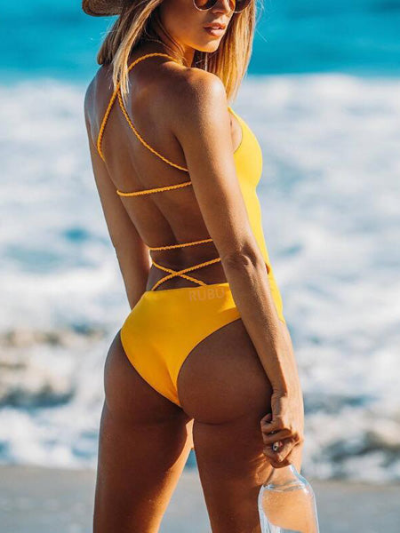 Yellow Cross Strap Open Back Swimsuit