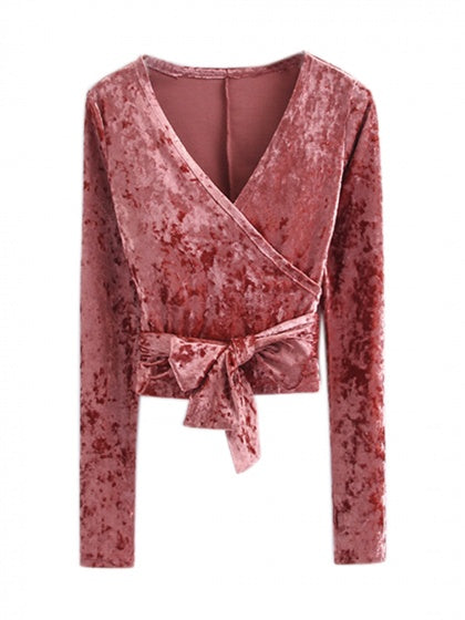 fdd0aa96d6c3c0 Pink V Neck Wrap Tie Waist Crushed Velvet Long Sleeve Top – MYNYstyle