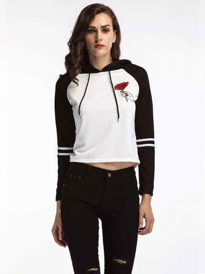Color Block Embroidery Rose Long Sleeve Cropped Hoodie