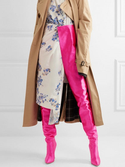 Hot Pink Satin Look Pointed Heeled Over The Waist Boots