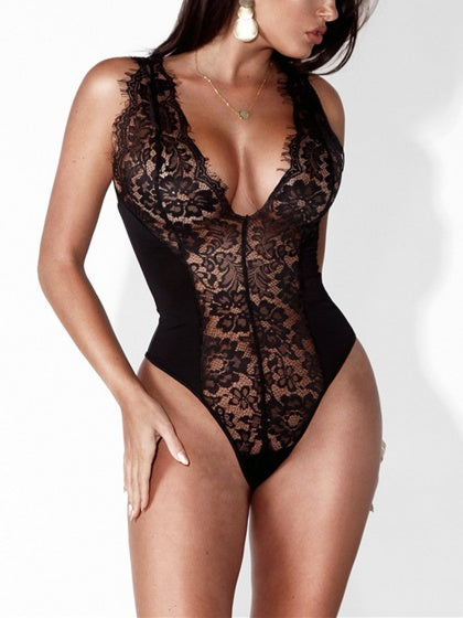 Black Halter Strap V Neck Plunge Sheer Lace Bodysuit