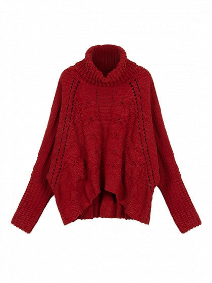 d4a6cf426 Red High Neck Chunky Cable Long Sleeve Sweater
