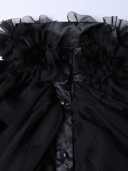 Black High Neck Bow Tie Front Layered Ruffle Sheer Shirt