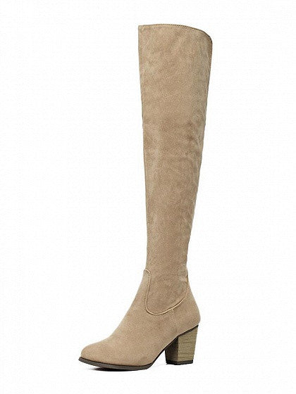 Apricot Suedette Block Heeled Over The Knee Boots - MYNYstyle - 1