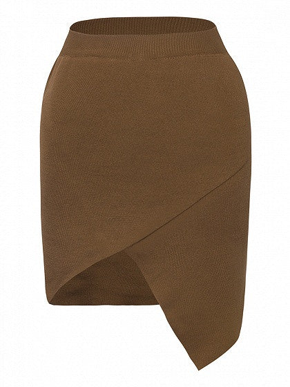 Brown High Waist Wrap Asymmetric Hem Knitted Pencil Skirt