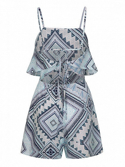 Multicolor Geo Pattern Layered Top Backless Cami Romper Playsuit