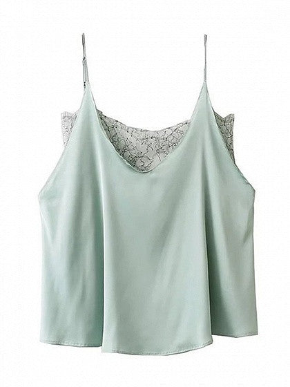 Light Green V-neck Sheer Lace Paneled Cami Top
